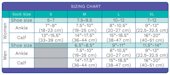 Dr. Segal's sizing chart