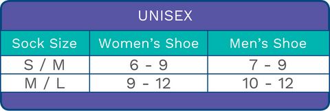 Diabetic Sock Sizing Chart - Unisex Sizes for Men and Women