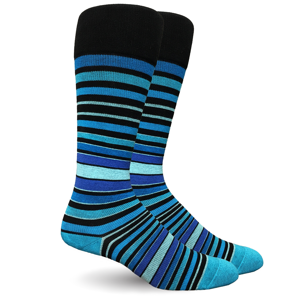 Stripe Cotton Blue Socks - Men's Medical