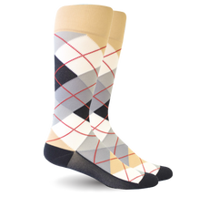 Argyle Beige/White - Synthetic - Men's Medical