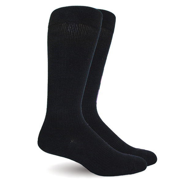 Solid Black Socks - Synthetic - Men's Medical