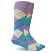 Argyle Synthetic Purple/Blue Energy Socks