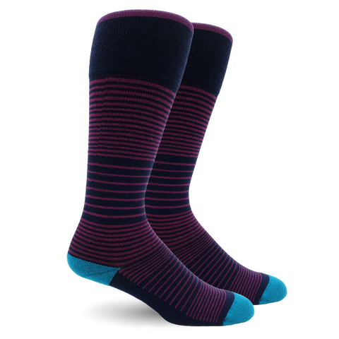 Stripe Cotton Navy/Purple Energy Socks