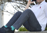Solid Cotton Teal Energy Socks