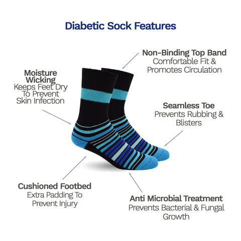 Special Features Diabetic Socks for Men, Diabetic Socks For Women, Neuropathy, Non Binding, Seamless - Blue Stripes