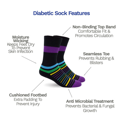 3-Pack Diabetic Socks - Multi Stripes, Solid Black & Cosmic Purple