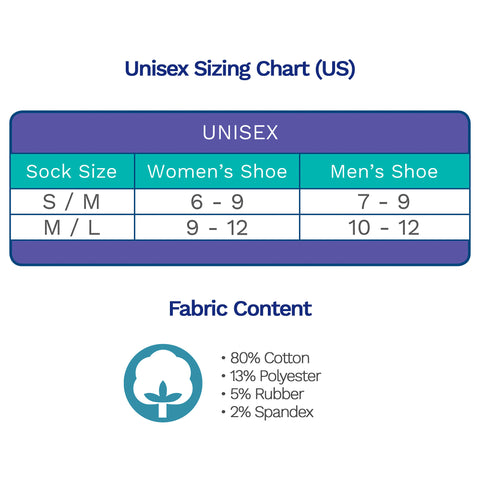Sizing Chart Diabetic Socks for Men, Diabetic Socks For Women, Neuropathy, Non Binding, Seamless - Blue Stripes