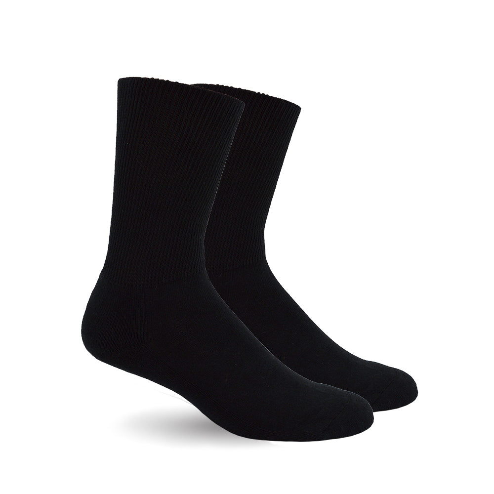 Diabetic Socks for Men, Diabetic Socks For Women, Neuropathy, Non Binding, Seamless - Solid Black