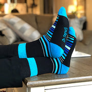 Diabetic Socks for Men, Diabetic Socks For Women, Neuropathy, Non Binding, Seamless - Blue Stripes