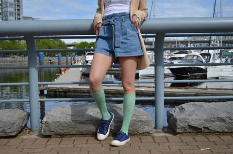 Space Dyed Cotton Green/Blue Energy Socks