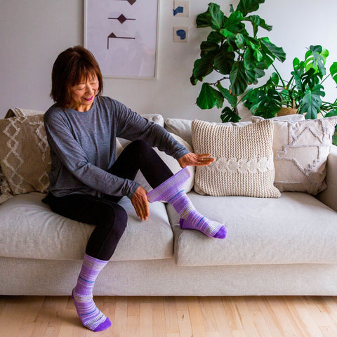 Diabetic Socks - Purple  Stripes