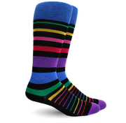 Stripe Cotton Black/Multi Socks - Women's Medical