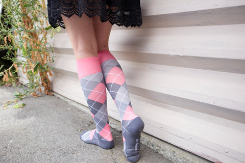 Argyle Synthetic Pink/Grey Energy Socks