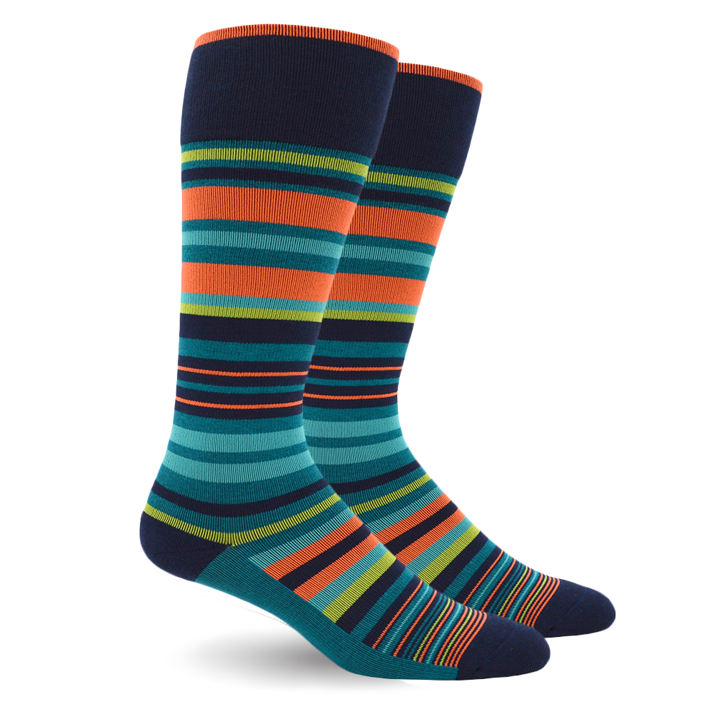 STRIPE COTTON TEAL ENERGY SOCKS