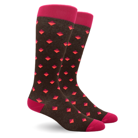 DIAMOND DOT PINK COTTON ENERGY SOCKS
