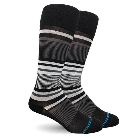 Stripe Cotton Black/Grey Socks - Women's Medical