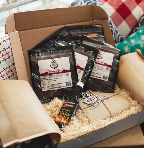 JERKY STEAK LOVERS BOX SUPREME w/6 Beef and Greenport Fire Steak Sauce. FREE SHIPPING