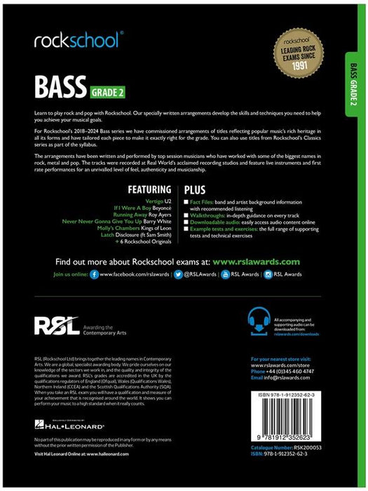 Rockschool Bass Grade 2 2018 Back