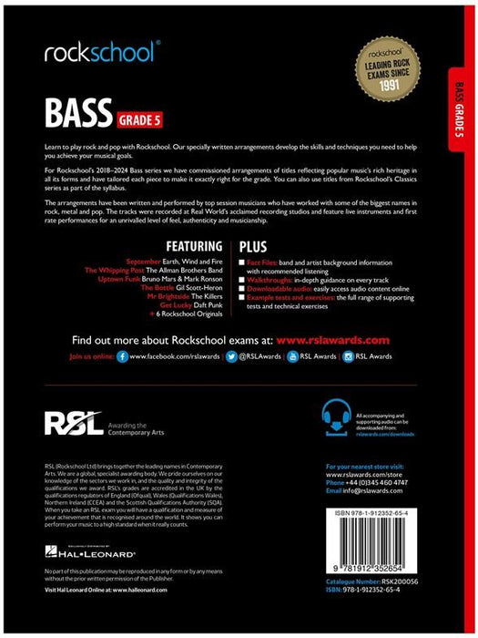 Rockschool Bass Grade 5 2018 Back