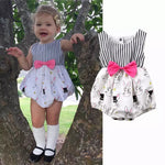 Black & White Striped Easter Romper