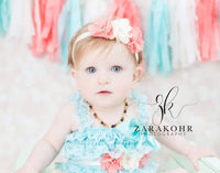 Coral & Aqua First Birthday Set, Lace Romper, Birthday Sash - LoliBean
