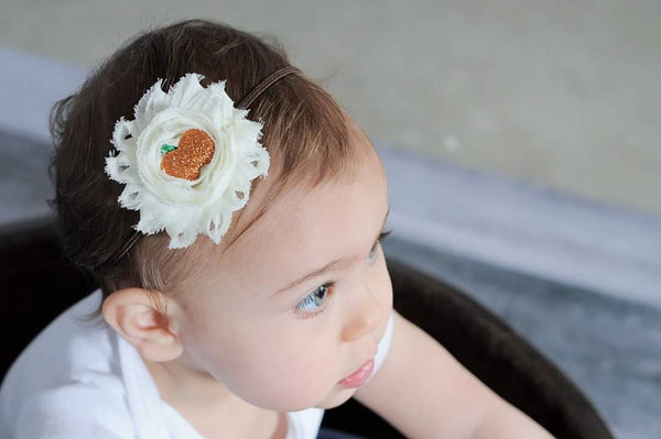 Ivory and Brown Autumn Headband, Pumpkin Headband, Fall Baby Headband - LoliBean