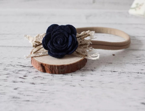 Navy Blue & Beige Nylon Headband
