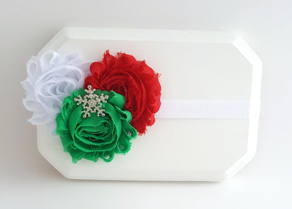 Red White and Green Holiday Headband, Snowflake Headband - LoliBean