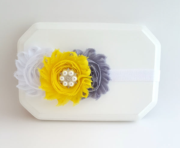 Yellow and Gray Headband, Triple Flower Headband - LoliBean
