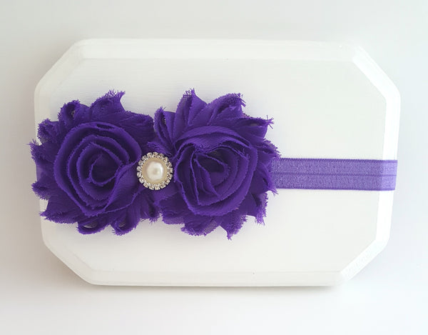 Purple Headband, Purple Flower Girl Headband - LoliBean