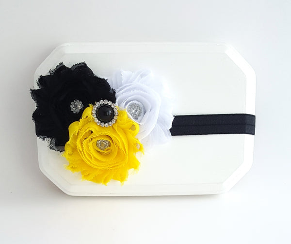 Steelers Headband, Yellow and Black Headband, Bee Cake Smash Headband - LoliBean