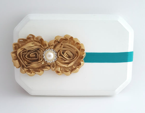 Gold and Teal Headband, Metallic Gold Headband - LoliBean