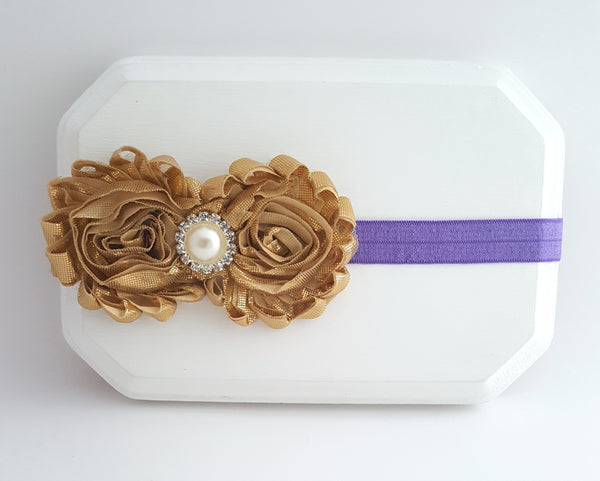 Gold and Purple Headband, Gold Cake Smash Headband - LoliBean
