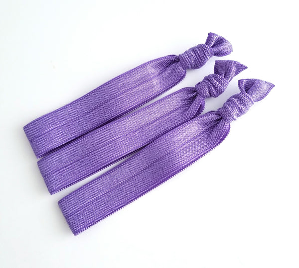 Purple Hair Tie Set, Set of 3 Yoga Hair Ties - LoliBean