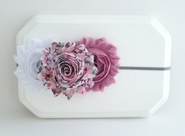 Mauve and Gray Floral Headband, Shabby Chic Headband - LoliBean