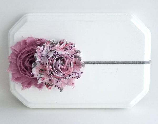 Mauve Headband, Mauve and Gray Headband, Floral Headband - LoliBean
