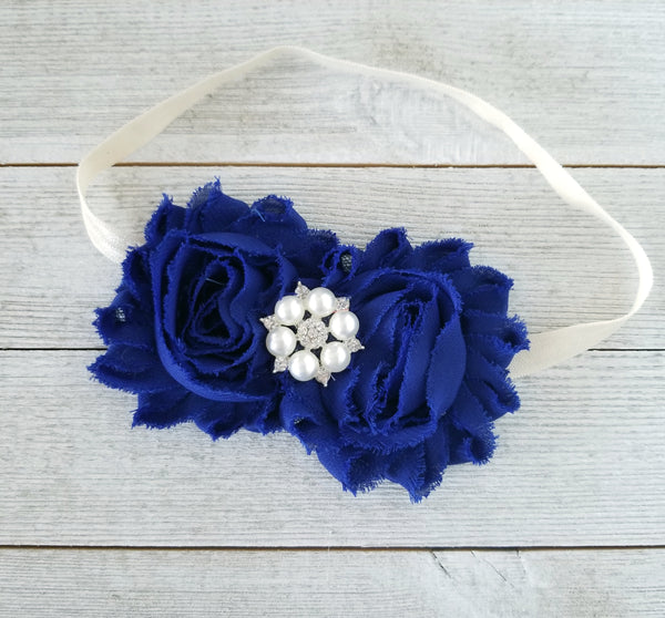 Royal Blue and Ivory Headband - LoliBean