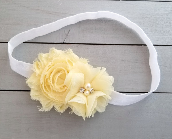 Yellow and White Headband, Pale Yellow Headband - LoliBean