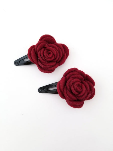 Burgundy and Black Hair Clip Set - LoliBean
