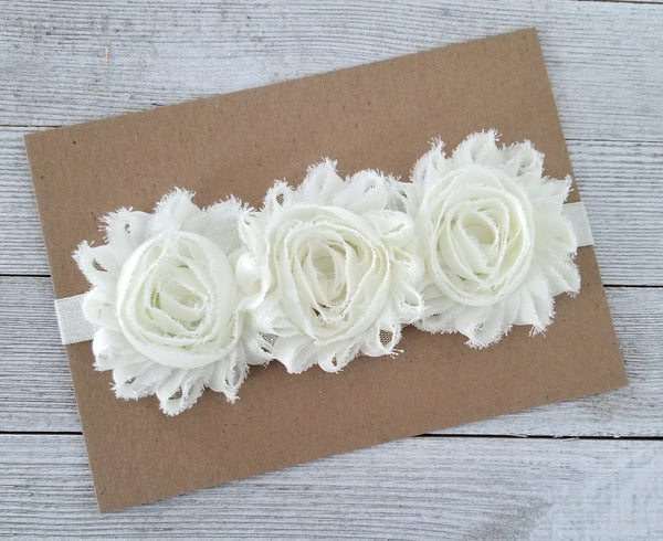 Ivory Headband, Ivory Flower Crown, Flower Girl Headband - LoliBean