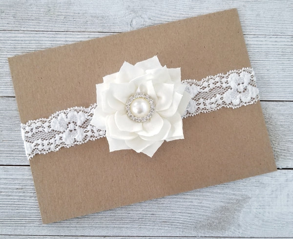 Ivory Lace Baptism Headband, Flower Girl Headband - LoliBean