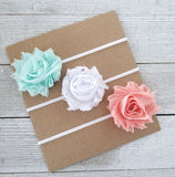 Spring Headband Set, Aqua and Peach Headbands - LoliBean