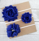 Royal Blue Headband Set, Royal Blue Headbands - LoliBean