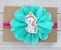 Hot Pink and Teal Unicorn Headband - LoliBean