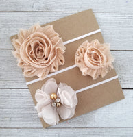 Beige Headband Set, Beige Headbands - LoliBean