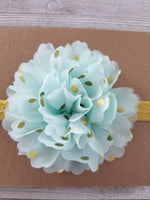 Mint and Gold Polka Dot Headband, Gold Baby Headband, Polka Dot Headband - LoliBean