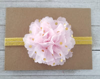 Pink and Gold Polka Dot Headband, Pink Headband, Gold Headband - LoliBean
