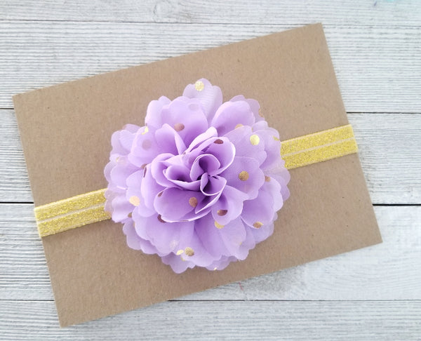 Lavender and Gold Headband, Gold Polka Dot Headband - LoliBean