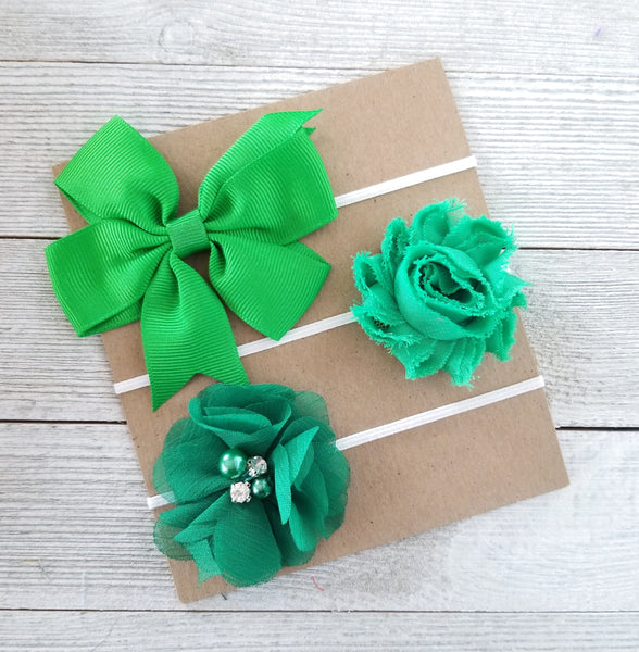 St.Patricks day Headband Set, Green Headbands, Baby Headbands - LoliBean