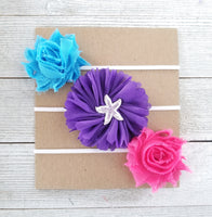 Mermaid Headband Set, Hot Pink Headband, Purple Headband, Teal Headband - LoliBean